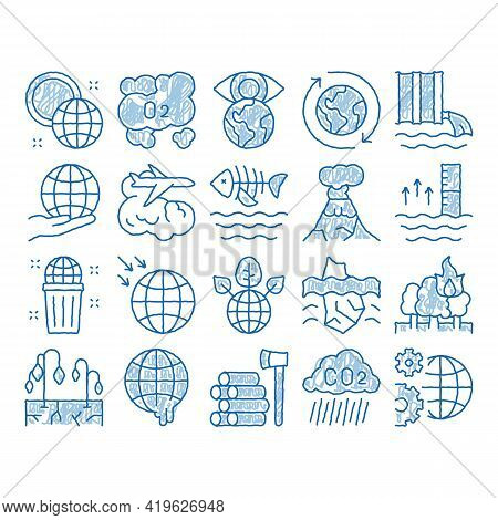 Climate Change Ecology Sketch Icon Vector. Hand Drawn Blue Doodle Line Art Climate Warming And Droug