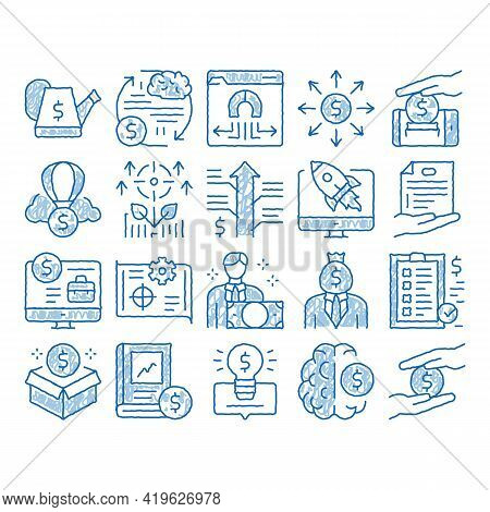 Crowdfunding Business Sketch Icon Vector. Hand Drawn Blue Doodle Line Art Crowdfunding Financial Web