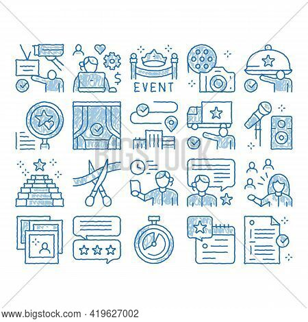 Event Party Planning Sketch Icon Vector. Hand Drawn Blue Doodle Line Art Planning Travel And Deliver