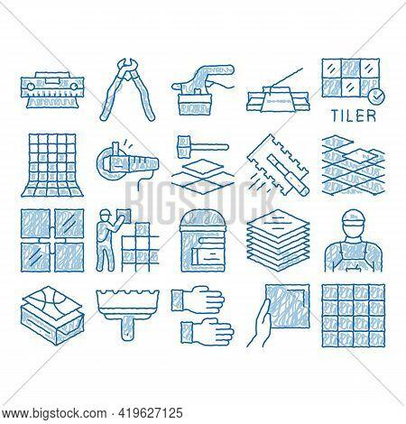 Tiler Work Equipment Sketch Icon Vector. Hand Drawn Blue Doodle Line Art Tiler Rectangular Notched T