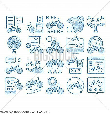 Bike Sharing Business Sketch Icon Vector. Hand Drawn Blue Doodle Line Art Bike Share Deal And Agreem