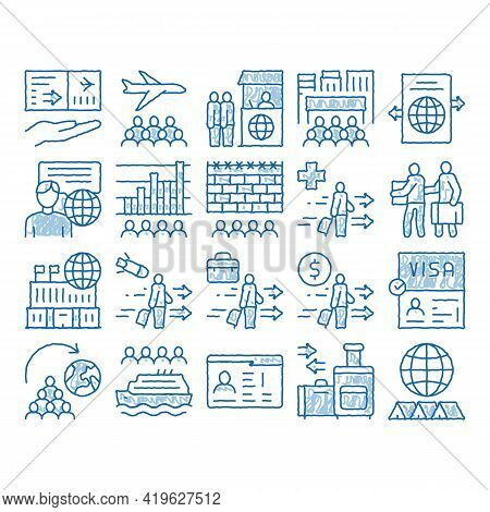 Immigration Refugee Sketch Icon Vector. Hand Drawn Blue Doodle Line Art Immigration Person With Bagg