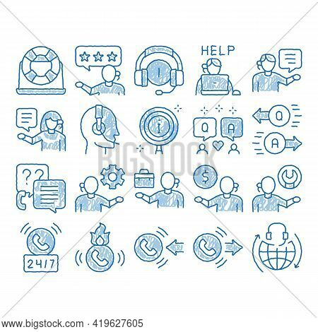 Telemarketing Sale Sketch Icon Vector. Hand Drawn Blue Doodle Line Art Telemarketing Help And Inform