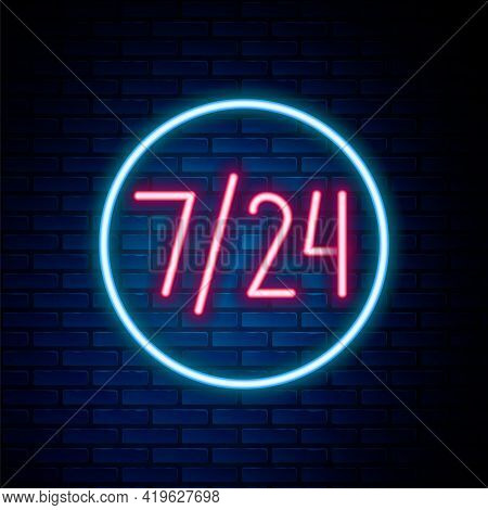 Glowing Neon Line Clock 24 Hours Icon Isolated On Brick Wall Background. All Day Cyclic Icon. 24 Hou