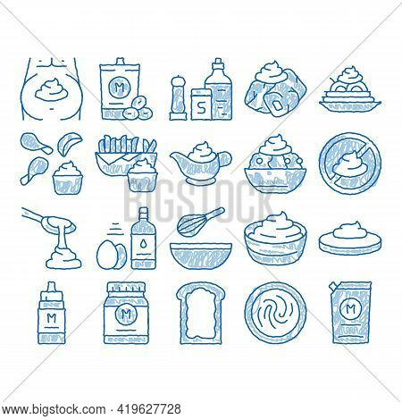 Mayonnaise Sauce Sketch Icon Vector. Hand Drawn Blue Doodle Line Art Mayonnaise Bottle And Preparing
