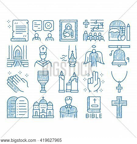 Church Christianity Sketch Icon Vector. Hand Drawn Blue Doodle Line Art Church Building And Interior