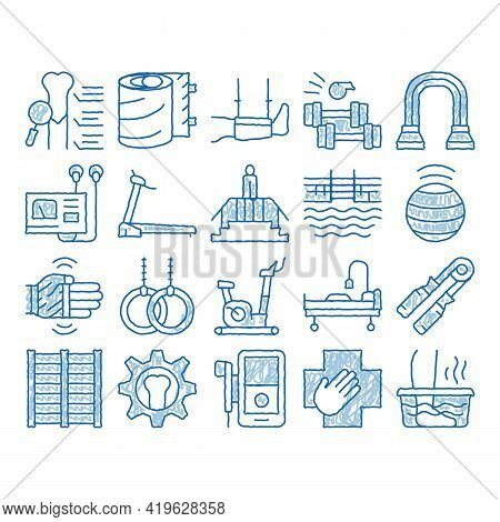 Physical Therapy And Recovery Sketch Icon Vector. Hand Drawn Blue Doodle Line Art Treadmill And Exer