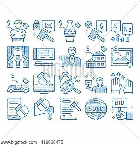 Auction Buying And Selling Goods Sketch Icon Vector. Hand Drawn Blue Doodle Line Art Internet Auctio