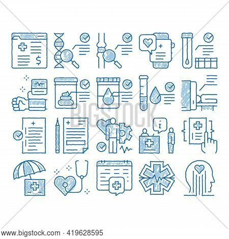 Health Checkup Medical Sketch Icon Vector. Hand Drawn Blue Doodle Line Art Healthcare Checkup List A