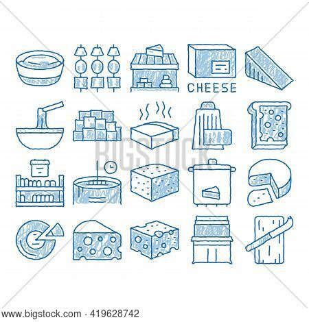 Cheese Dairy Food Sketch Icon Vector. Hand Drawn Blue Doodle Line Art Cheese On Sliced Bread Sandwic