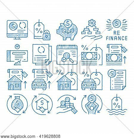 Refinance Financial Sketch Icon Vector. Hand Drawn Blue Doodle Line Art Mortgage And Credit Car, Deb