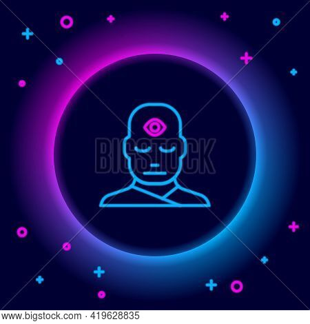 Glowing Neon Line Man With Third Eye Icon Isolated On Black Background. The Concept Of Meditation, V