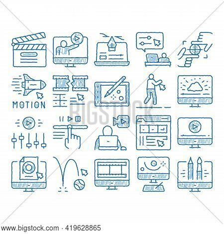 Motion Design Studio Sketch Icon Vector. Hand Drawn Blue Doodle Line Art Movie Motion Redactor Progr