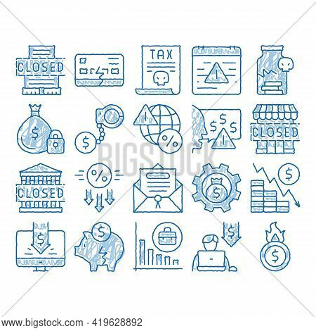 Bankruptcy Business Sketch Icon Vector. Hand Drawn Blue Doodle Line Art Bankruptcy Shop And Company,