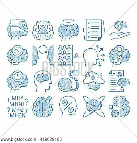 Dementia Brain Disease Sketch Icon Vector. Hand Drawn Blue Doodle Line Art Dementia Mind Degenerativ