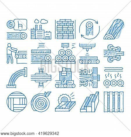 Wood Production Plant Sketch Icon Vector. Hand Drawn Blue Doodle Line Art Wood Sawmill And Forestry