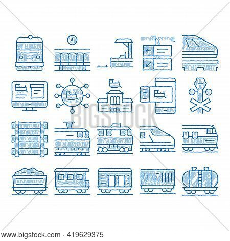 Train Rail Transport Sketch Icon Vector. Hand Drawn Blue Doodle Line Art Electrical Passenger And Fr