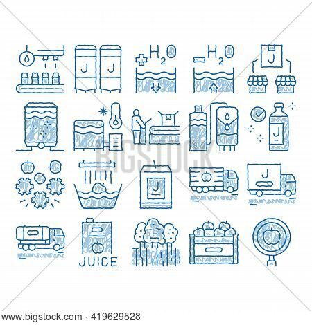 Juice Production Plant Sketch Icon Vector. Hand Drawn Blue Doodle Line Art Juice Package And Bottle,