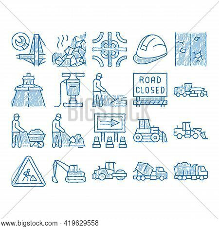 Road Repair And Sketch Icon Vector. Hand Drawn Blue Doodle Line Art Road Repair And Maintenance Equi