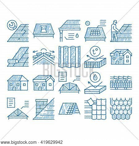 Roof Housetop Material Sketch Icon Vector. Hand Drawn Blue Doodle Line Art House Roof Waterproof And