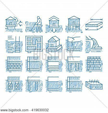 House Foundation Base Sketch Icon Vector. Hand Drawn Blue Doodle Line Art Concrete And Brick Buildin
