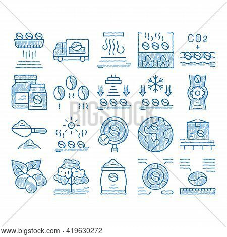 Coffee Production Sketch Icon Vector. Hand Drawn Blue Doodle Line Art Coffee Production Factory And