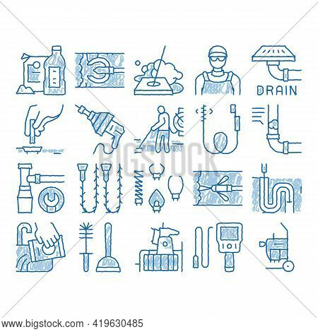 Drain Cleaning Service Sketch Icon Vector. Hand Drawn Blue Doodle Line Art Drain System Clean Equipm