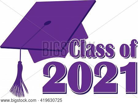 Purple Class Of 2021 Graphic With Graduation Cap