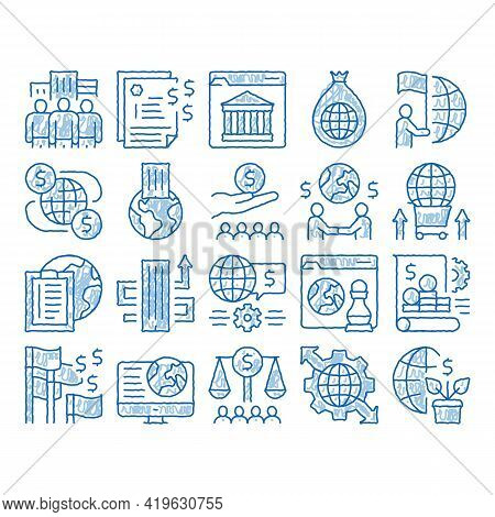 Global Business Finance Strategy Sketch Icon Vector. Hand Drawn Blue Doodle Line Art International A