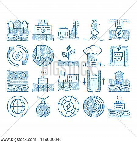 Geothermal Energy Sketch Icon Vector. Hand Drawn Blue Doodle Line Art Geothermal Electricity Factory
