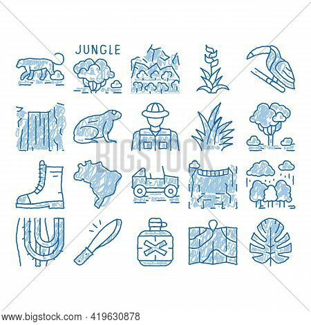 Jungle Tropical Forest Sketch Icon Vector. Hand Drawn Blue Doodle Line Art Jungle Tree And Animal, W
