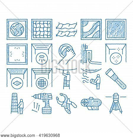 Stretch Ceiling Tile Sketch Icon Vector. Hand Drawn Blue Doodle Line Art Ceiling Material And Photo