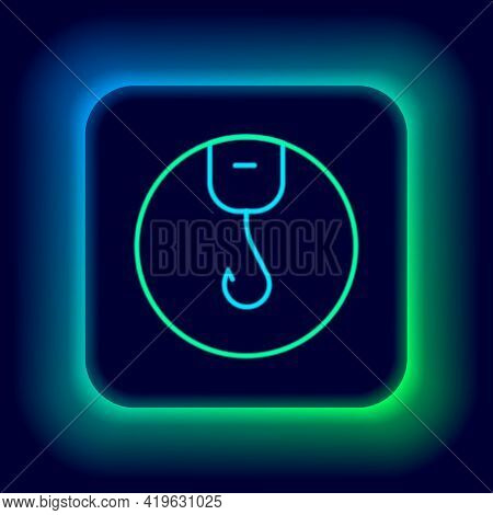Glowing Neon Line Fishing Hook Icon Isolated On Black Background. Fishing Tackle. Colorful Outline C