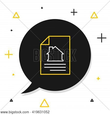 Line House Contract Icon Isolated On White Background. Contract Creation Service, Document Formation