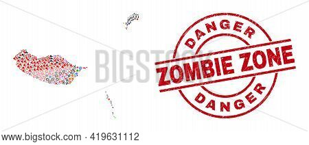 Madeira Islands Map Collage And Rubber Danger Zombie Zone Red Round Stamp Imitation. Danger Zombie Z