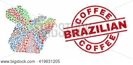 Paral State Map Collage And Textured Coffee Brazilian Red Round Stamp Print. Coffee Brazilian Stamp