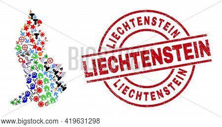 Liechtenstein Map Mosaic And Liechtenstein Red Round Stamp Imitation. Liechtenstein Stamp Uses Vecto