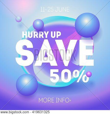 Modern Line Art Website Sale Banner Template. Save 50 Percent. Illustration Fashion Newsletter Desig