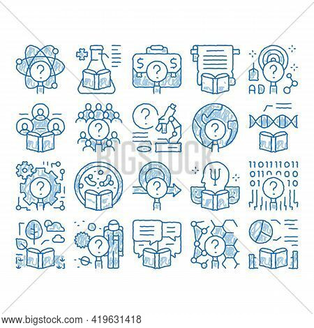 Researcher Business Sketch Icon Vector. Hand Drawn Blue Doodle Line Art Chemical Laboratory And Biol