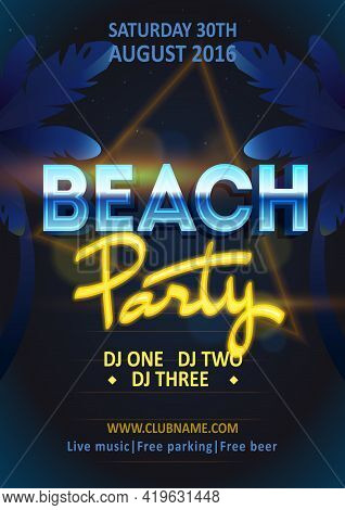 Summer Beach Party Poster Invitation. Inspiration Flyer Template. Dj Beach Party, Night Club Show Po