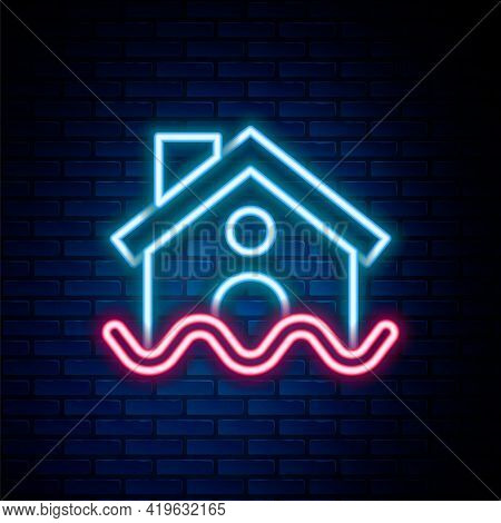 Glowing Neon Line House Flood Icon Isolated On Brick Wall Background. Home Flooding Under Water. Ins