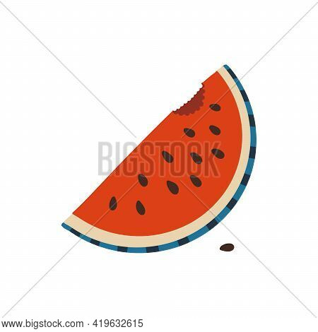 Watermelon Icon In A Flat Style. Logo Of Watermelon Bitten Off Slice Isolated On White Background. F