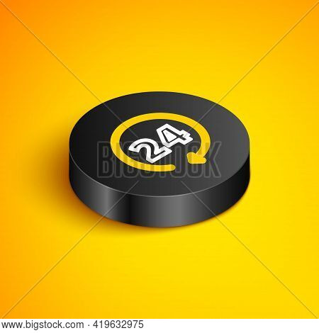 Isometric Line Clock 24 Hours Icon Isolated On Yellow Background. All Day Cyclic Icon. 24 Hours Serv
