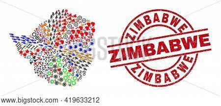 Zimbabwe Map Mosaic And Distress Zimbabwe Red Circle Stamp Imitation. Zimbabwe Stamp Uses Vector Lin