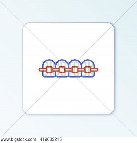 Line Teeth With Braces Icon Isolated On White Background. Alignment Of Bite Of Teeth, Dental Row Wit