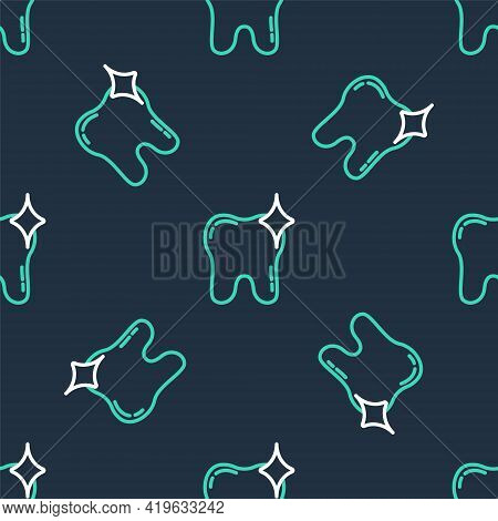 Line Tooth Whitening Concept Icon Isolated Seamless Pattern On Black Background. Tooth Symbol For De