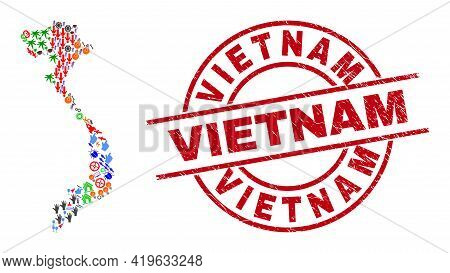 Vietnam Map Collage And Distress Vietnam Red Circle Watermark. Vietnam Stamp Uses Vector Lines And A