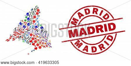 Madrid Province Map Mosaic And Rubber Madrid Red Circle Stamp Imitation. Madrid Stamp Uses Vector Li