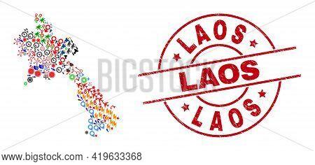 Laos Map Mosaic And Laos Red Round Stamp. Laos Stamp Uses Vector Lines And Arcs. Laos Map Mosaic Con