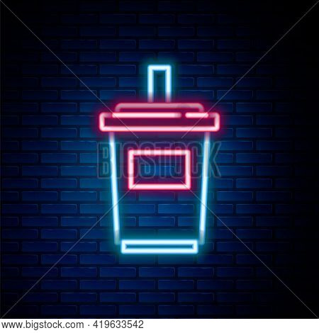 Glowing Neon Line Paper Glass With Drinking Straw And Water Icon Isolated On Brick Wall Background.